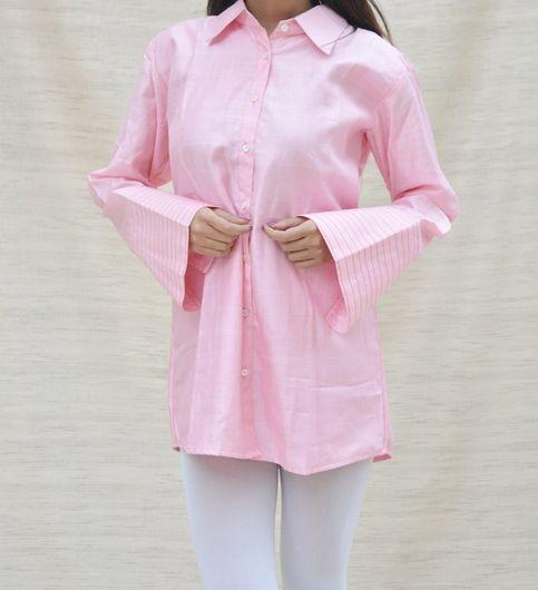 Pink Khadi Silk Shirt Collar Top