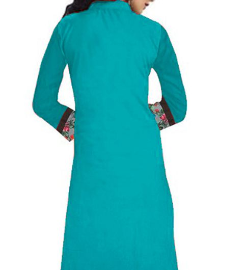 New Designer Sky Blue color indo cotton semi stiched Printed kurti for woman and Girls by fise on fab