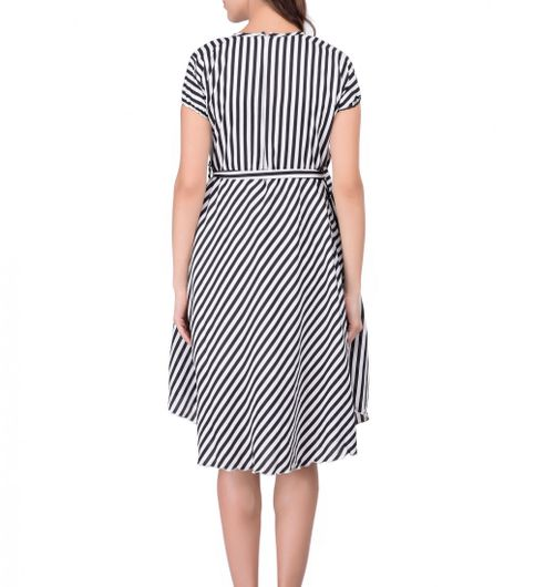 Black Stripe Printed Crepe Dress
