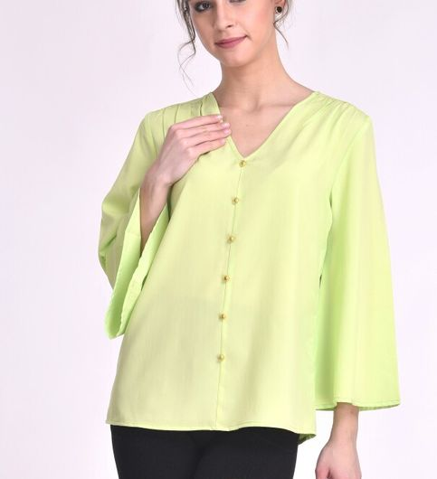 STSF0805-Saieraa Light Green Color poncho Flare Top with show buttons