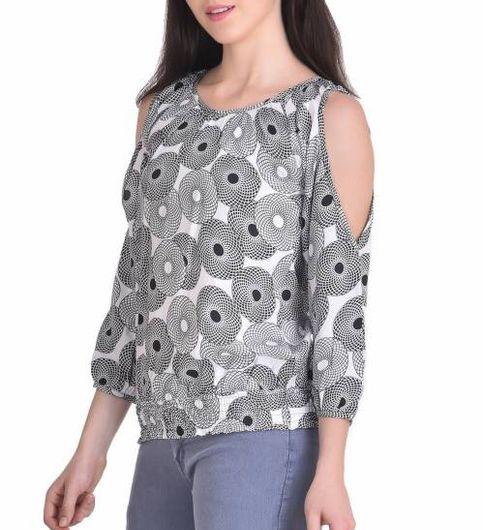 STSF0426-Saieraa Multicoloured Printed Cold Shoulder Top with Smoking At Hem