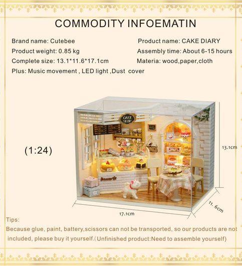 Mopixie Dollhouse Miniature Furniture DIY Dollhouse Kit Plus Dust Proof Music Movement 124 Scale Creative Room IdeaCake Diary