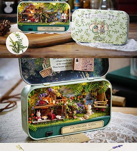 Mopixie 3D Wooden Dollhouse Miniature DIY Doll House Kit with Furniture124 DIY Box Theater Kit Countryside Notes