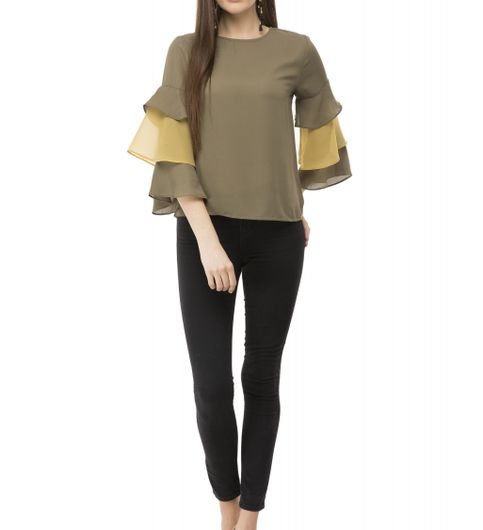 BGORG Women Western Frill Top in Khaki Colour