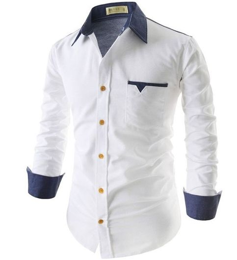 New Fancy Pure Cotton White Formal Men Shirt