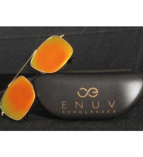 ENUV Original UV Protected Full-Rim Mirrored Yellow Square Sunglasses