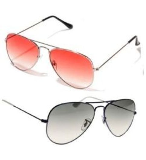 Sunglasses Red And Black Aviator Goggles Combo Pack Of 2