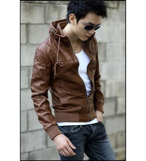 Italiano TUCCI Vintage Slim Fit Padding Style Designer Mens Semi Leather Jacket TAN Color P011