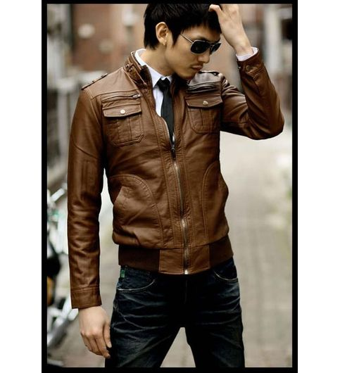 Italiano TUCCI Vintage Slim Fit Padding Style Designer Mens Semi Leather Jacket TAN Color P012