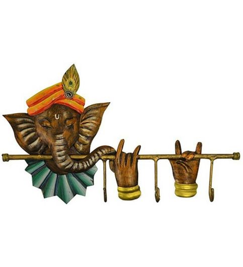 Green Ganesha Basuri Wrought Iron Key Hanger