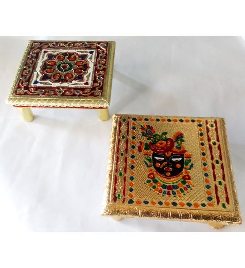 Wooden Chowki Stool Decorative Small Side Table Bajot Table for Pooja Room COMBO