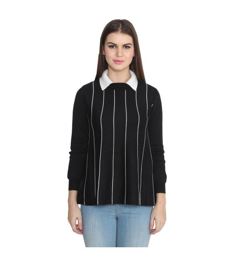 Lee Marc Casual Black Woolen Striped Top For Womens187