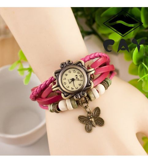 New Vintage Pink Leather Watch For Women