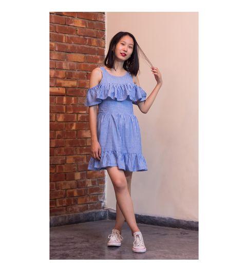 Stripe Dropshoulder Dress