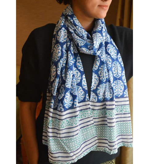 A Cotton Mul Hand-Block Printed Stole