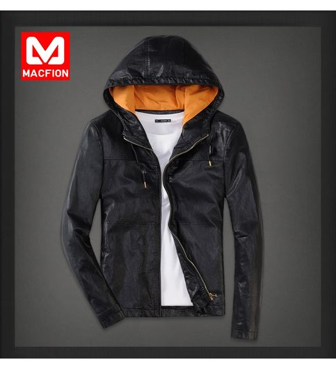 T02 - Macfion Branded Vintage Slim Fit Padding Style Designer Mens Semi Leather Jacket Hoodie Jacket