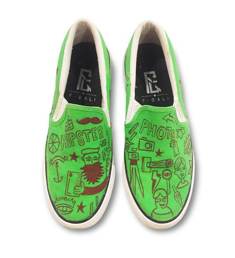 Green Doodle slip-on shoes slipon canvas shoes casual shoe loafer shoes printed handpainted shoes