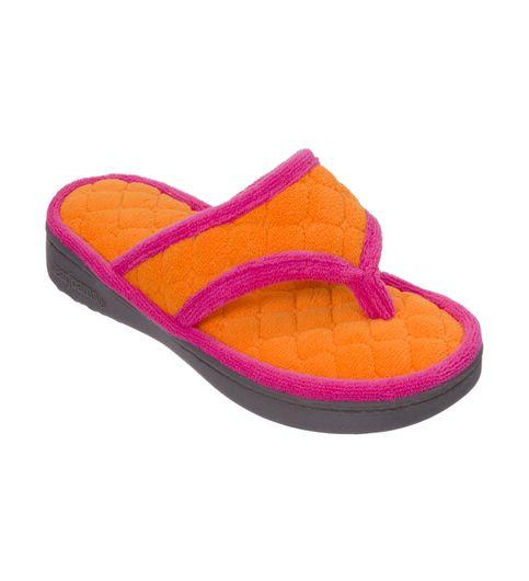 Dearfoams Quilted Terry Orange Jolt Flip Flop