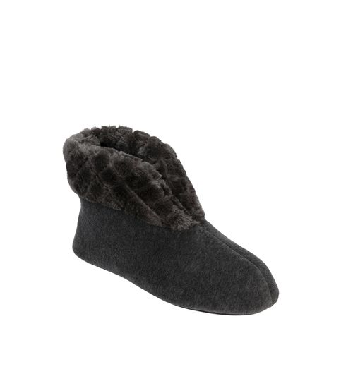 Feelinwow Velour Bootie Slipper with Quilted Pile Cuff Grey