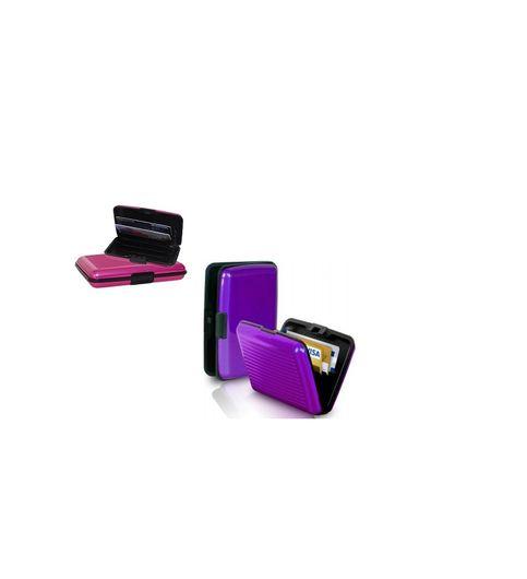 Pursho Combo of Aluminium Credit Card Holder Set of 2 PurplePink