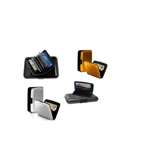 Pursho Combo of Aluminium Credit Card Holder BlackGreySilverGolden