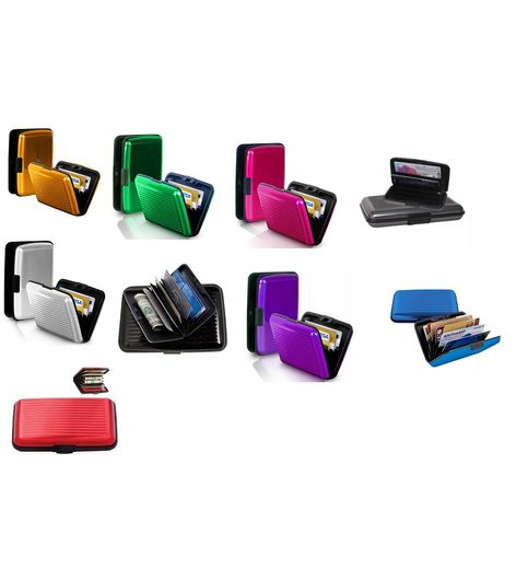 Pursho Combo of Aluminium Credit Card Holder Set of 9 BlackBlueRedGoldenPinkPurpleGreyGreenSilver