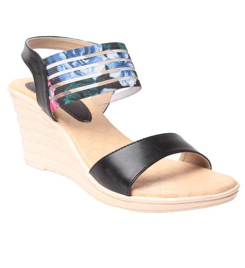 MSC Womens Black Synthetic Leather Wedges