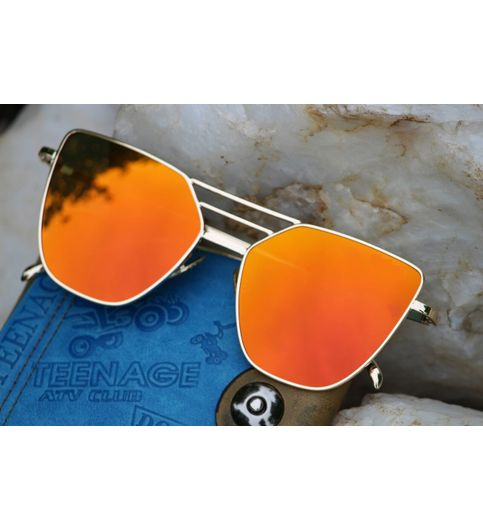Orange Mirror Golden Fream Aviator Sunglasses