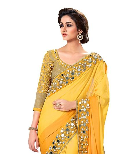 Yellow Colored Georgette Original Mirror Border Saree With Embroidered Blouse