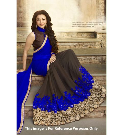 Blue Colored Georgette Half Half Embroidered Party Wear Saree With Bloues