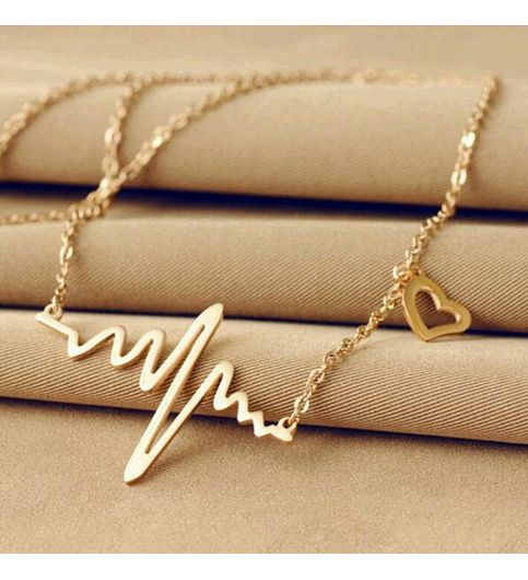 Hot Chic ECG Heartbeat Gold Plated Pendant Charm Necklace for Women