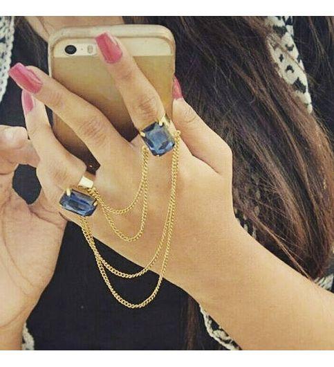 Trendy Two Fingers Stone Ring - Handmade