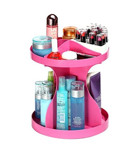 Deziredeal 360 Degree Rotatable Cosmetics Plastic Makeup Storage Two Layer Multifunctional Makeup Cosmetic Organizer