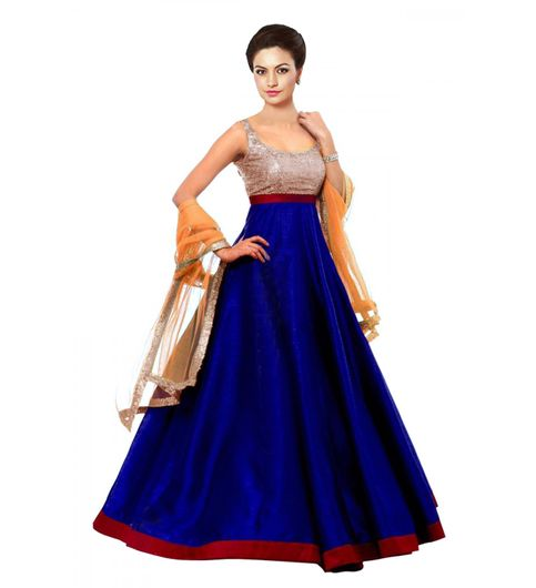 Edeal Online Designer Blue And Red Tafetta Silk Plain Anarkali Dress