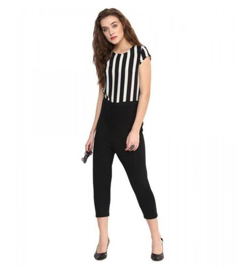 strip print crepe jumpsuit