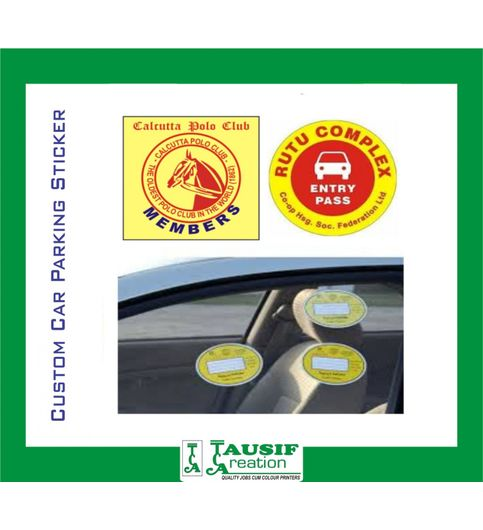 Custom car parking permits stickers set of 2 pc