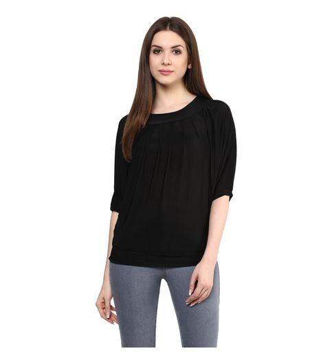THE BEBO BLACK PURE LYCRA STRAIGHT ELEGANT TOP