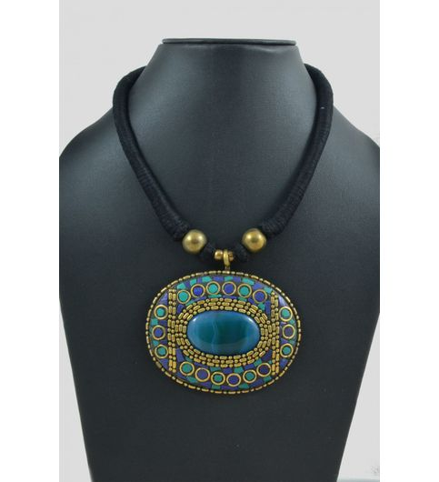 Wowtrendy Ethnic Sea Blue Lac Neckpiece
