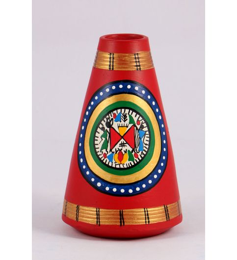 Wowtrendy Terracotta Vase Aanar Shape Red And Gold