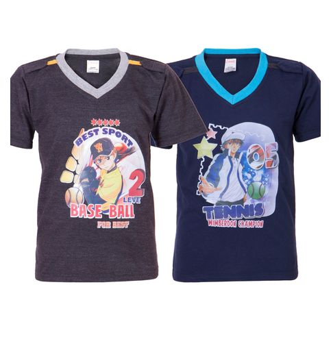 Ultrafit Junior Boys Cotton Multicolored T-Shirt- Pack of 2185