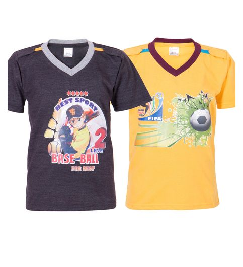 Ultrafit Junior Boys Cotton Multicolored T-Shirt- Pack of 2184