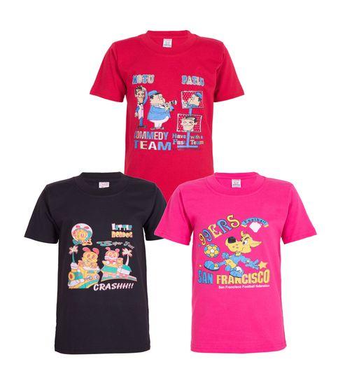 Ultrafit Junior Boys Cotton T-Shirt- Pack Of 3- Black Pink Red