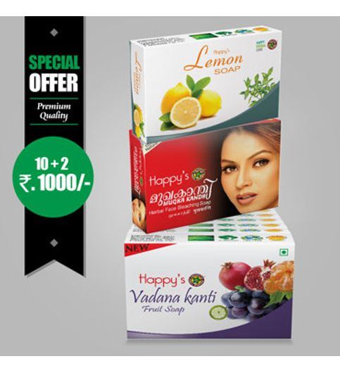 Happys Vadanakanthi Fruit Soap Pay for 10 Get 12 Combo Offer