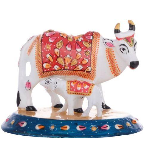 Kamakshi Art Showpiece White Metal Meenakari Cow With Calf