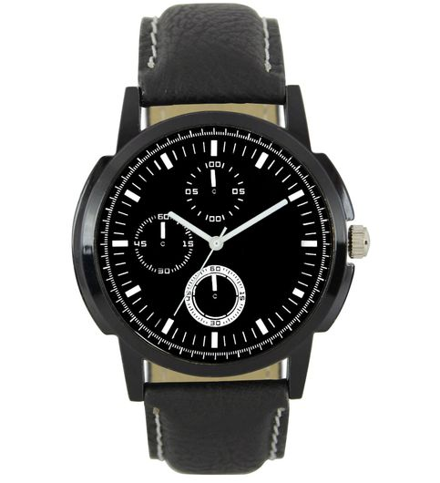 The Shopoholic Analog Black Dial Black Leather Belt Watches For Boys-Watch For Men Formal