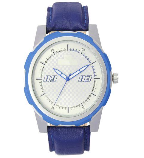 The Shopoholic Analog Blue-White Round Dial Blue Leather Belt Watches For Boys-Men Watch Stylish