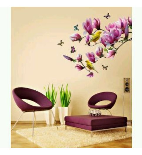 Wall Decal- Floral Lovely Magnolia Branch Purple Home Decoration Vinyl  Finished Size 110cm x 100cm