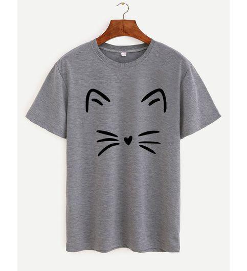 Womens Cotton T Shirt - Meow Grey
