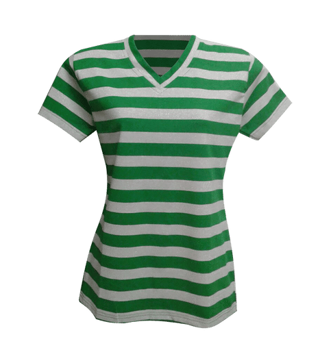 Womens PC Lycra T Shirt - Green White Stripe with Silver Glitter