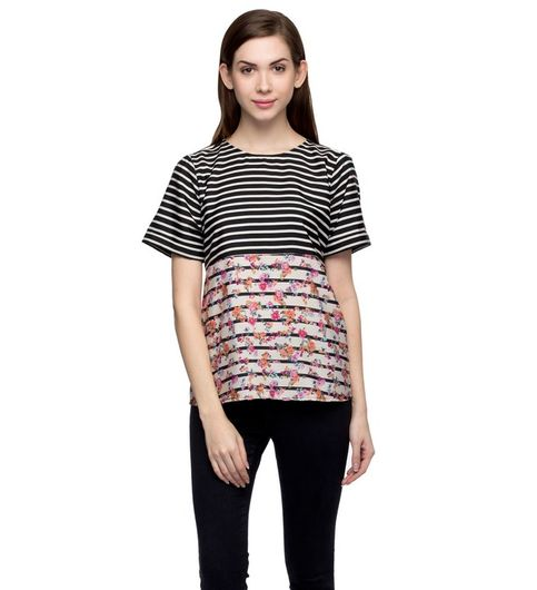 Women Striped Floral Top